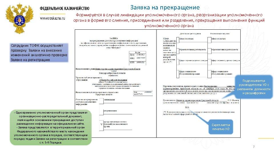Заявка на прекращение Формируется в случае ликвидации уполномоченного органа, реорганизации уполномоченного органа в форме