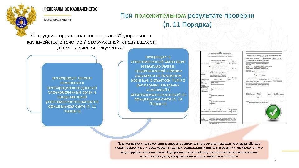 При положительном результате проверки (п. 11 Порядка) Сотрудник территориального органа Федерального казначейства в течение