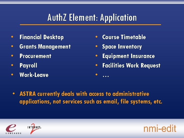 Auth. Z Element: Application • • • Financial Desktop Grants Management Procurement Payroll Work-Leave