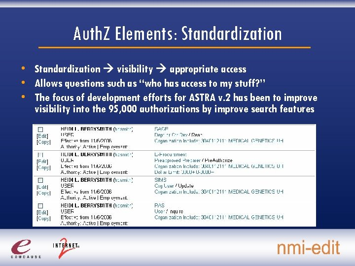 Auth. Z Elements: Standardization • Standardization visibility appropriate access • Allows questions such as