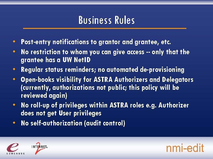 Business Rules • Post-entry notifications to grantor and grantee, etc. • No restriction to
