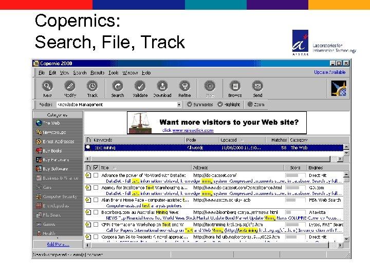 Copernics: Search, File, Track
