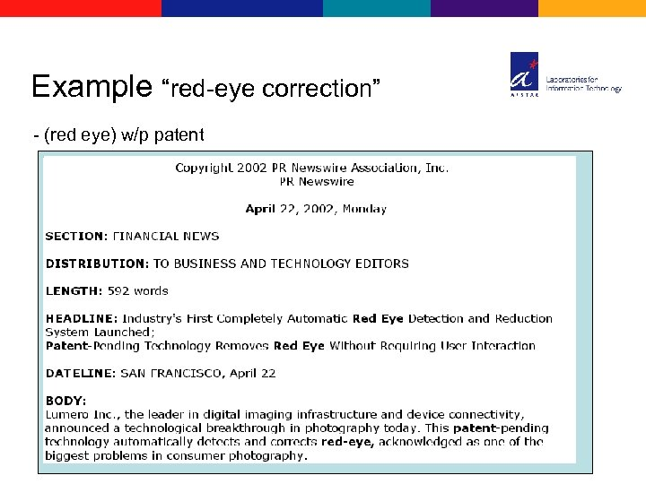 "Example ""red-eye correction"" - (red eye) w/p patent"