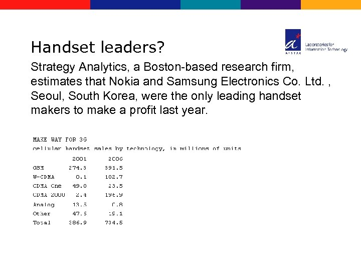 Handset leaders? Strategy Analytics, a Boston-based research firm, estimates that Nokia and Samsung Electronics