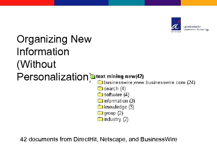 Organizing New Information (Without Personalization) 42 documents from Direct. Hit, Netscape, and Business. Wire