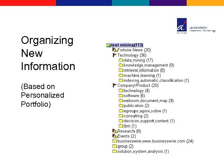 Organizing New Information (Based on Personalized Portfolio)