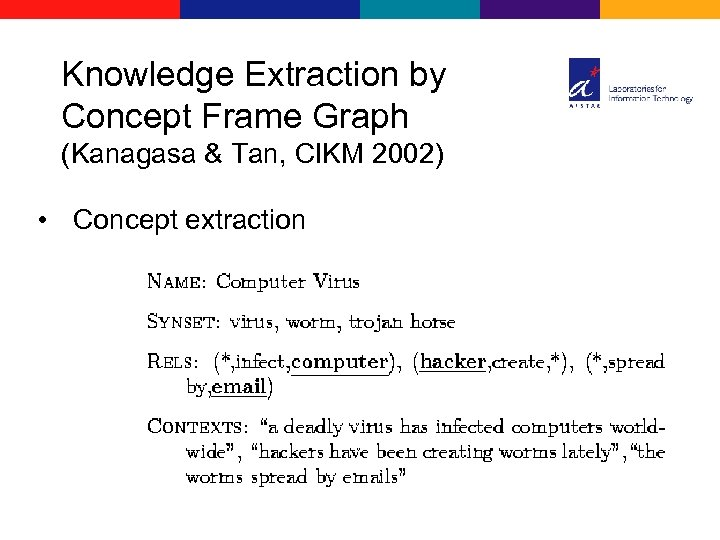 Knowledge Extraction by Concept Frame Graph (Kanagasa & Tan, CIKM 2002) • Concept extraction