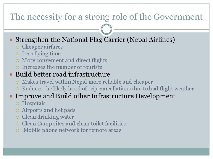 The necessity for a strong role of the Government Strengthen the National Flag Carrier