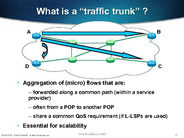 """What is a """"traffic trunk"""" ? A D B C • Aggregation of (micro)"""