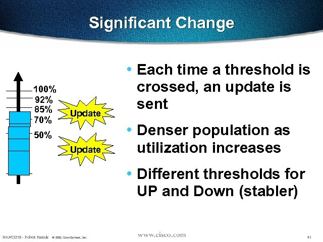 Significant Change 100% 92% 85% 70% Update 50% Update • Each time a threshold