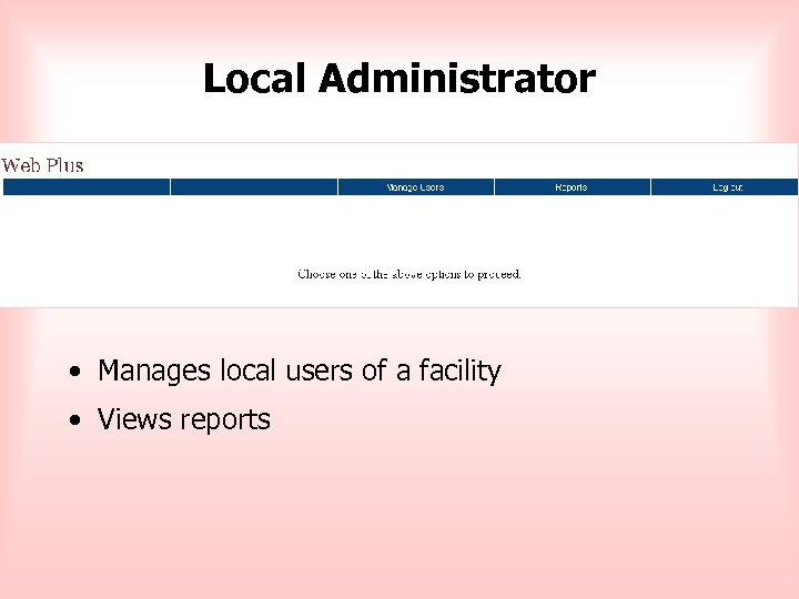 Local Administrator • Manages local users of a facility • Views reports