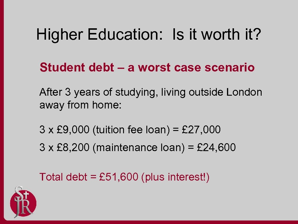 Higher Education: Is it worth it? Student debt – a worst case scenario After