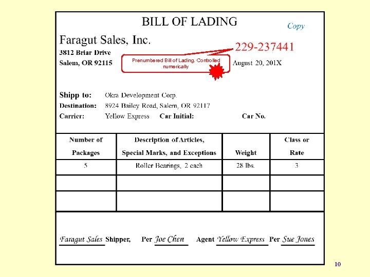 Prenumbered Bill of Lading. Controlled numerically 10