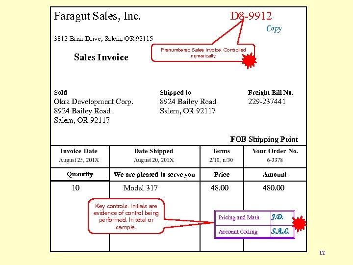 Faragut Sales, Inc. D 8 -9912 Copy 3812 Briar Drive, Salem, OR 92115 Sales