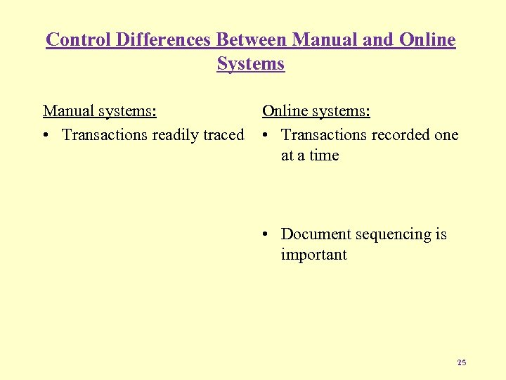 Control Differences Between Manual and Online Systems Manual systems: • Transactions readily traced Online