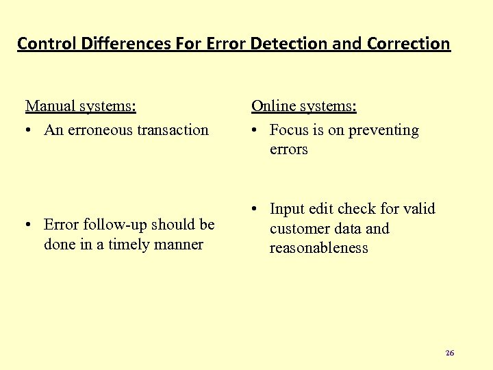 Control Differences For Error Detection and Correction Manual systems: • An erroneous transaction •