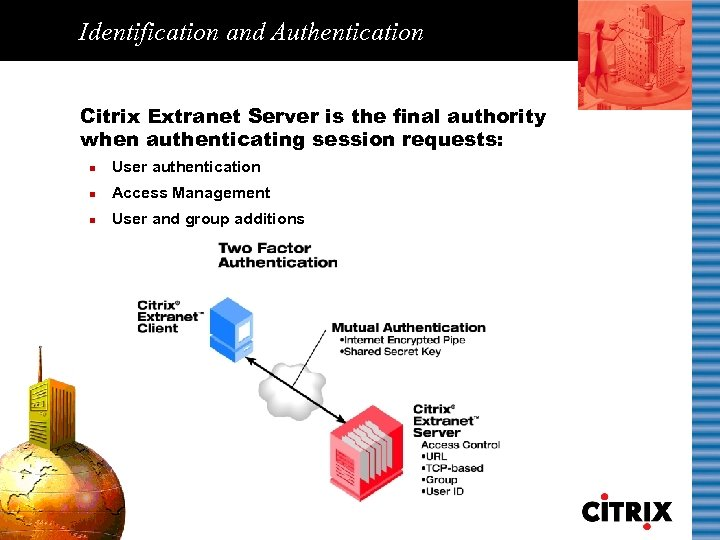 Identification and Authentication Citrix Extranet Server is the final authority when authenticating session requests: