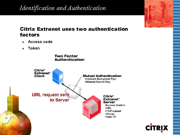 Identification and Authentication Citrix Extranet uses two authentication factors n Access code n Token