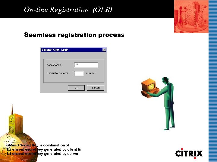 On-line Registration (OLR) Seamless registration process Shared Secret Key is combination of 1/2 shared