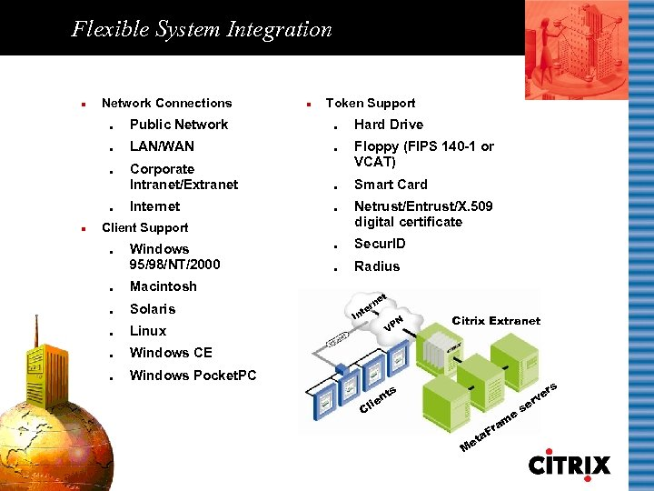 Flexible System Integration n Network Connections n Token Support l Public Network l l