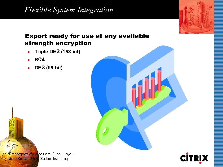 Flexible System Integration Export ready for use at any available strength encryption n Triple