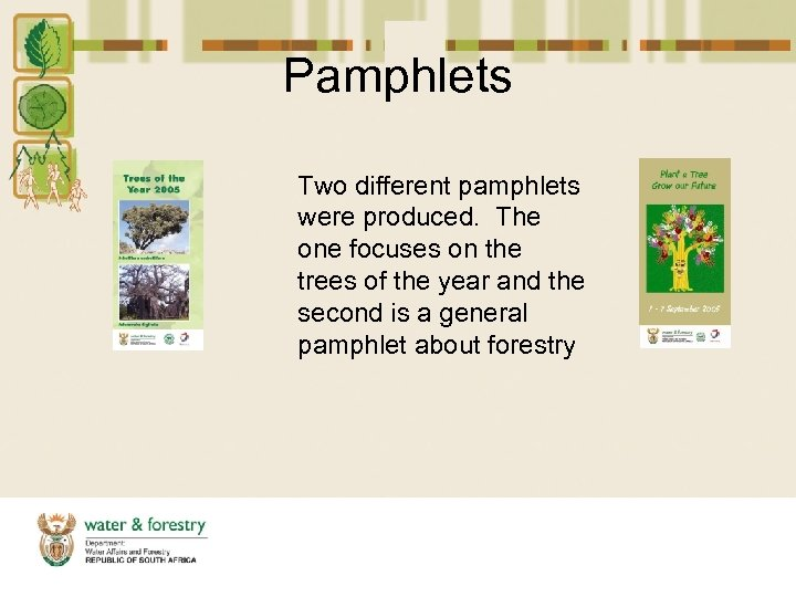 Pamphlets Two different pamphlets were produced. The one focuses on the trees of the