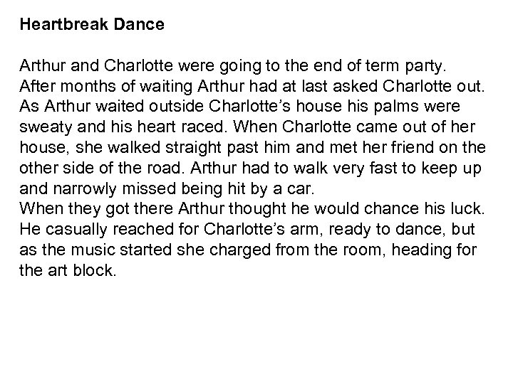 Heartbreak Dance Arthur and Charlotte were going to the end of term party. After