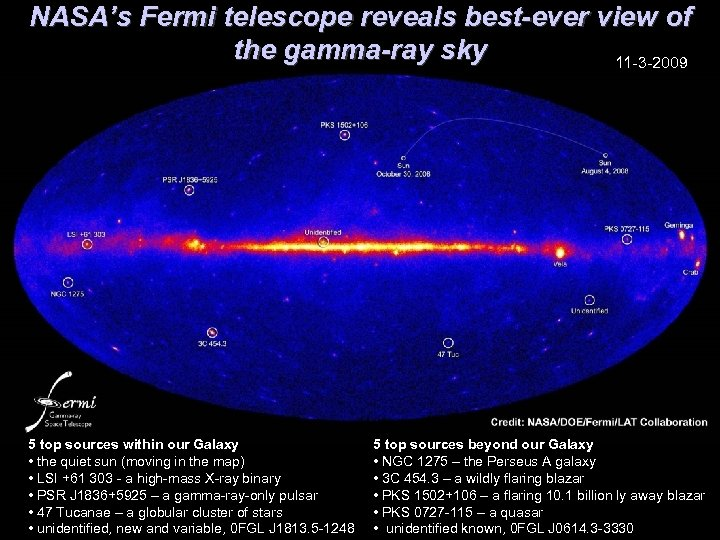 NASA's Fermi telescope reveals best-ever view of the gamma-ray sky 11 -3 -2009 5