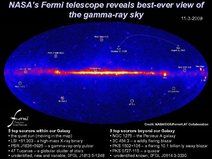 NASA's Fermi telescope reveals best-ever view of the gamma-ray sky 11 -3 -2009 5