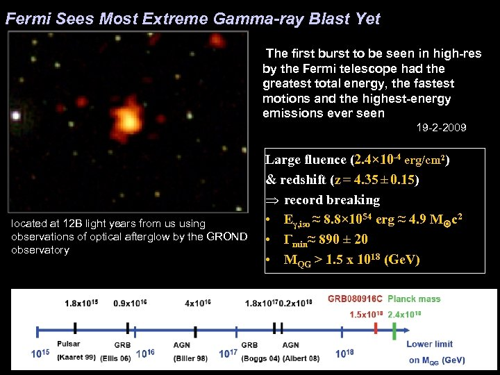 Fermi Sees Most Extreme Gamma-ray Blast Yet The first burst to be seen in