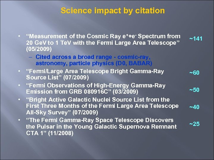 "Science impact by citation • ""Measurement of the Cosmic Ray e++e- Spectrum from 20"