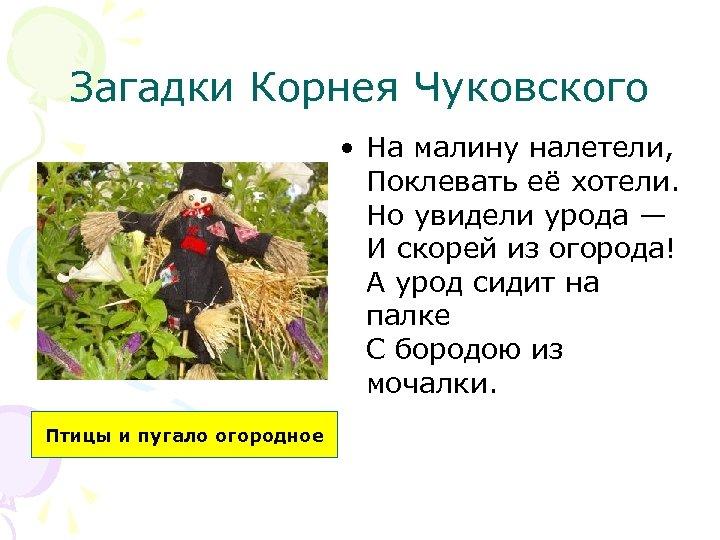 Загадки Корнея Чуковского • На малину налетели, Поклевать её хотели. Но увидели урода —