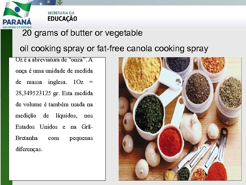 20 grams of butter or vegetable oil cooking spray or fat-free canola cooking