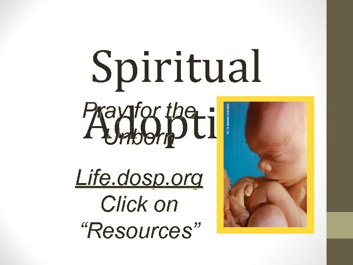"Spiritual Pray for the Adoption Unborn Life. dosp. org Click on ""Resources"""