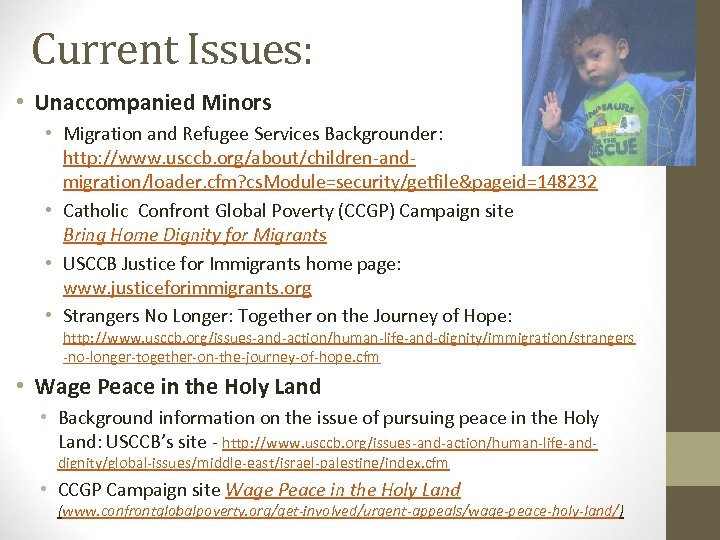 Current Issues: • Unaccompanied Minors • Migration and Refugee Services Backgrounder: http: //www. usccb.