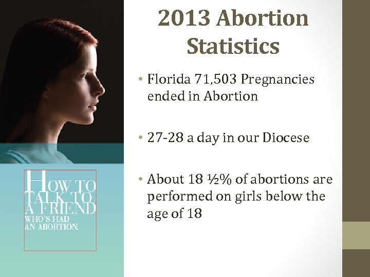 2013 Abortion Statistics • Florida 71, 503 Pregnancies ended in Abortion • 27 -28