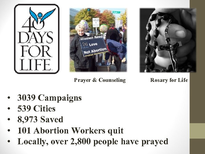 Prayer & Counseling • • • Rosary for Life 3039 Campaigns 539 Cities 8,