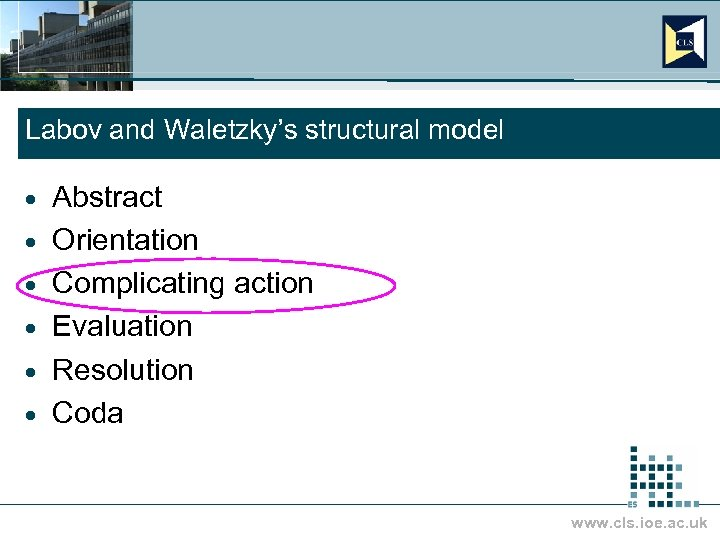 Labov and Waletzky's structural model · · · Abstract Orientation Complicating action Evaluation Resolution