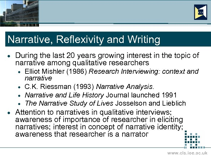 Narrative, Reflexivity and Writing · During the last 20 years growing interest in the