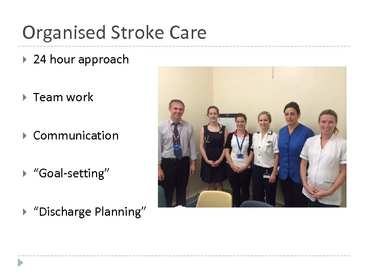 """Organised Stroke Care 24 hour approach Team work Communication """"Goal-setting"""" """"Discharge Planning"""" ? Picture"""