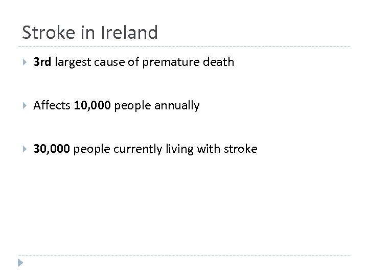 Stroke in Ireland 3 rd largest cause of premature death Affects 10, 000 people