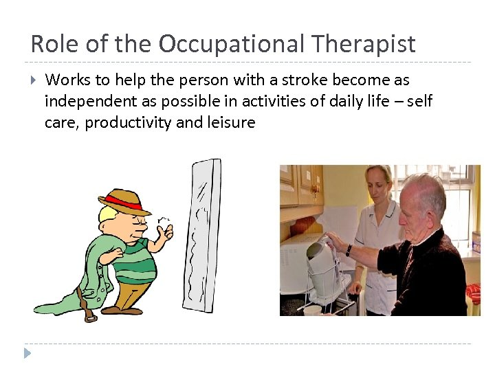 Role of the Occupational Therapist Works to help the person with a stroke become
