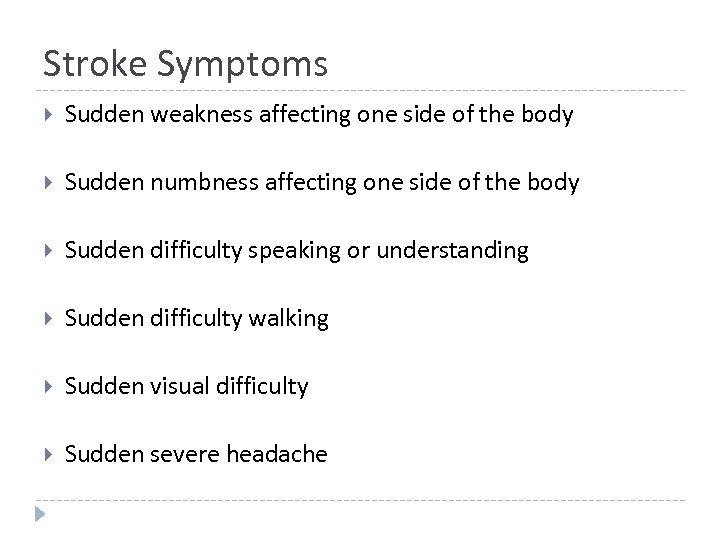 Stroke Symptoms Sudden weakness affecting one side of the body Sudden numbness affecting one