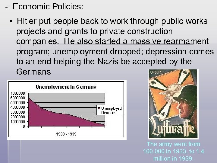 - Economic Policies: ▪ Hitler put people back to work through public works