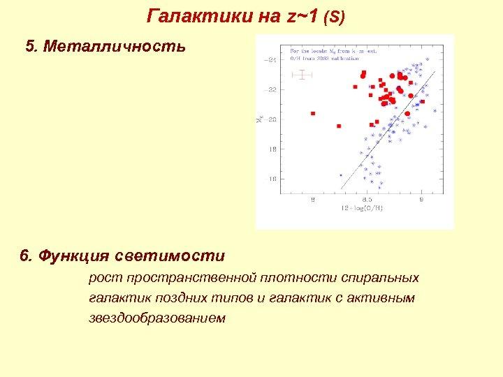 Галактики на z~1 (S) 5. Металличность 6. Функция светимости рост пространственной плотности спиральных галактик