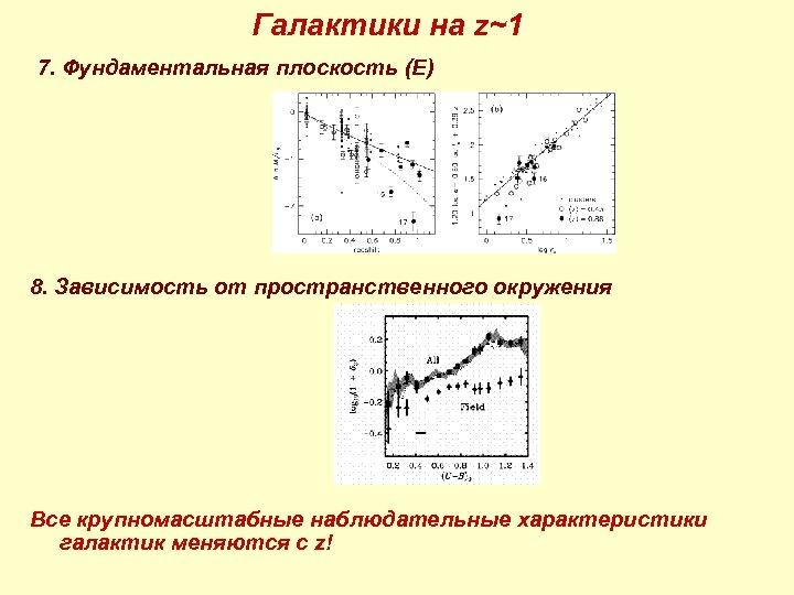 Галактики на z~1 7. Фундаментальная плоскость (E) 8. Зависимость от пространственного окружения Все крупномасштабные