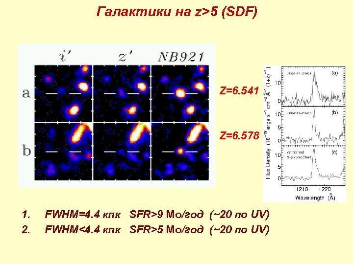 Галактики на z>5 (SDF) • Z=6. 541 • Z=6. 578 1. 2. FWHM=4. 4