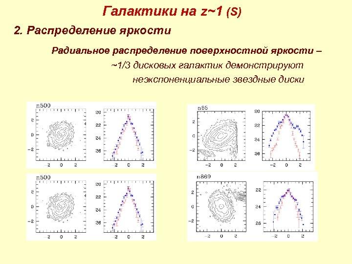 Галактики на z~1 (S) 2. Распределение яркости Радиальное распределение поверхностной яркости – ~1/3 дисковых