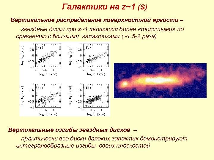 Галактики на z~1 (S) Вертикальное распределение поверхностной яркости – звездные диски при z~1 являются
