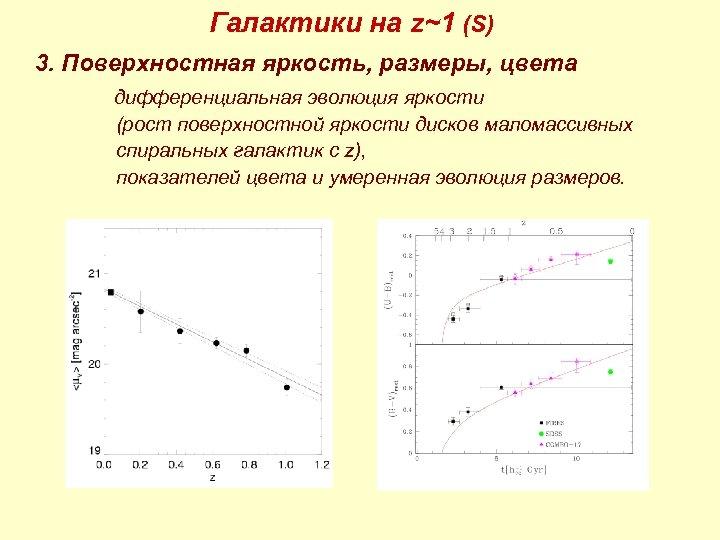 Галактики на z~1 (S) 3. Поверхностная яркость, размеры, цвета дифференциальная эволюция яркости (рост поверхностной